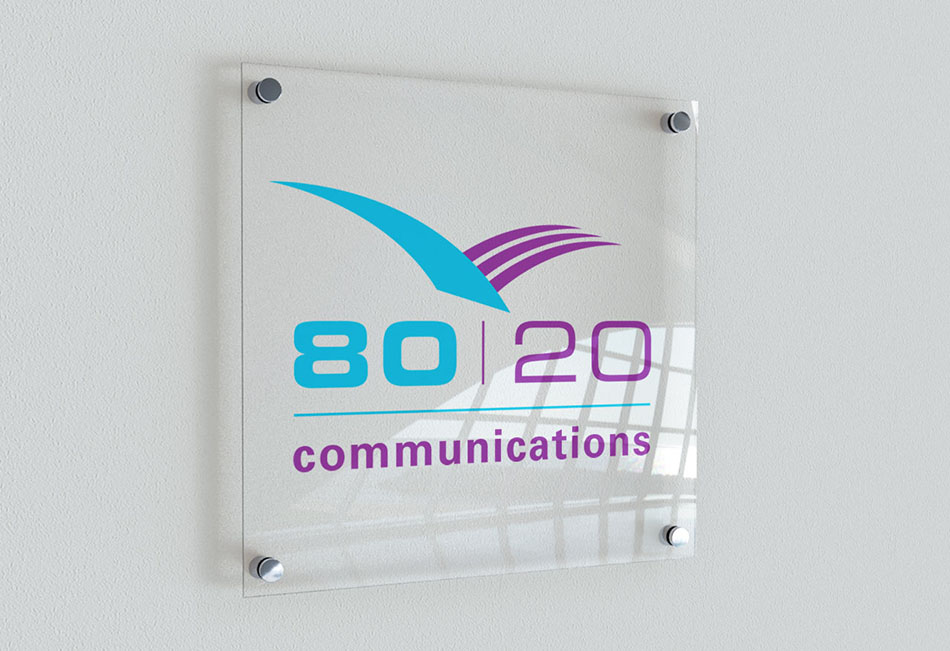 PR agency 80:20 Communications brand and logo design