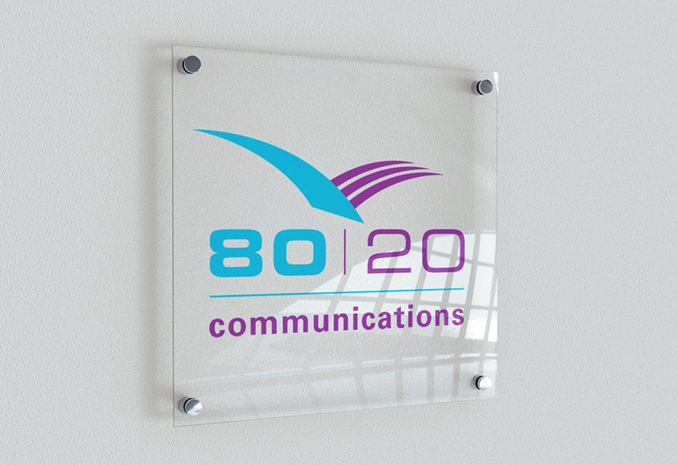 PR agency 80:20 Communications brand and logo design