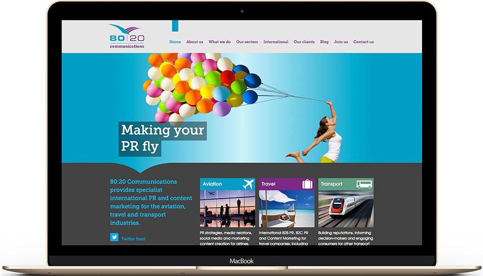 PR agency 80:20 Communications web design