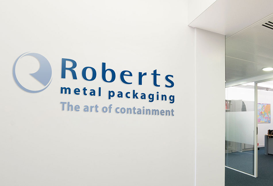 Roberts Metal Packaging brand and logo design