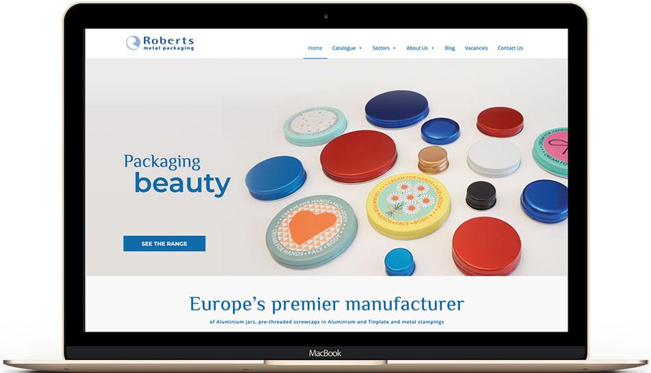 Roberts Metal Packaging web design